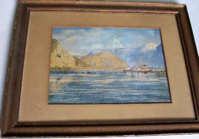 Italian lake scene, Isola Pescatore, Lago Maggiore, watercolour on card, 19