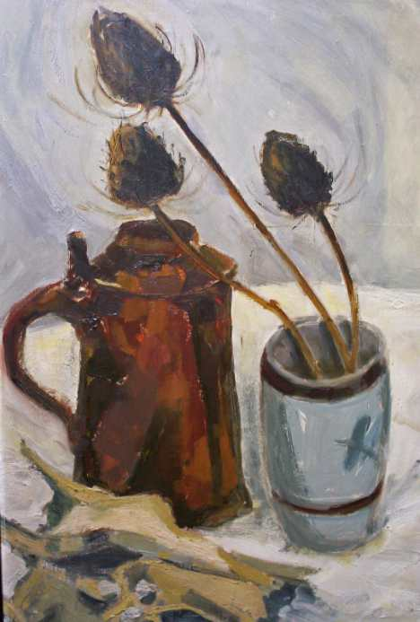 Oil on board still-life.