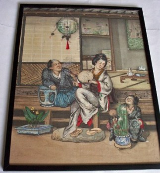 Family life, Japanese mixed media on silk. Late 19th/Early 20th C. Framed.