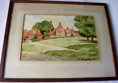 Village scene, watercolour on paper, signed monogram JKM 45.