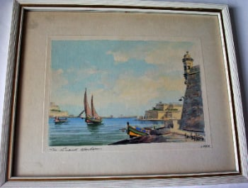 The Grand Harbour, watercolour on paper, signed Joseph Galea, Malta, 1969.   SOLD.