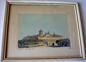Mdina - The Old City, signed Joseph Galea 1968.   SOLD.