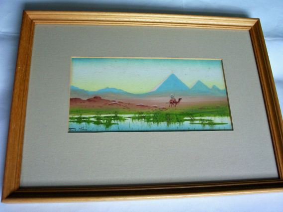 Gouache on paper, Egyptian desert scene.