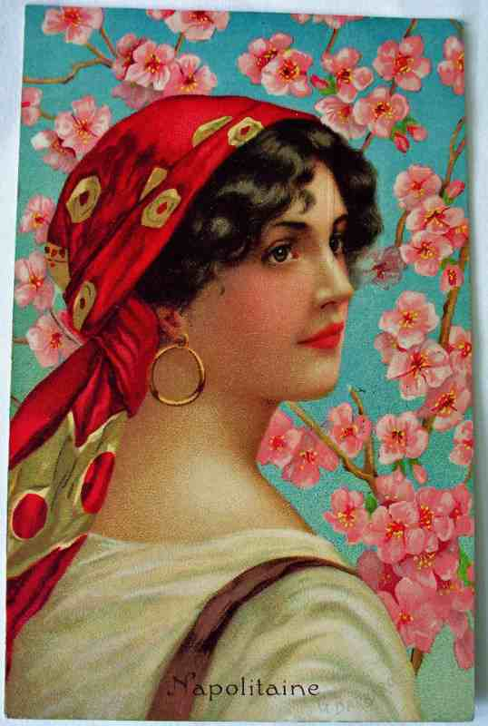 Napolitaine, postcard signed G. Barbaro.