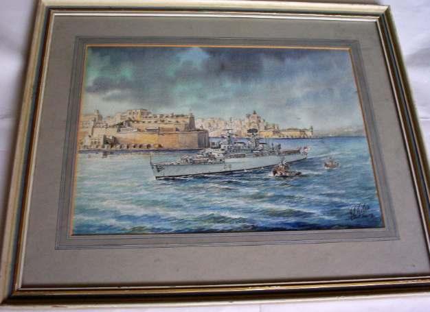Watercolour painting of HMS London leaving Malta 1979.