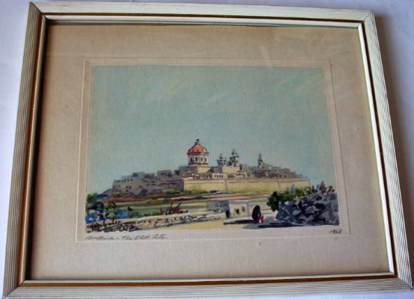 Watercolour painting of Mdina Malta by Joseph Galea 1968.