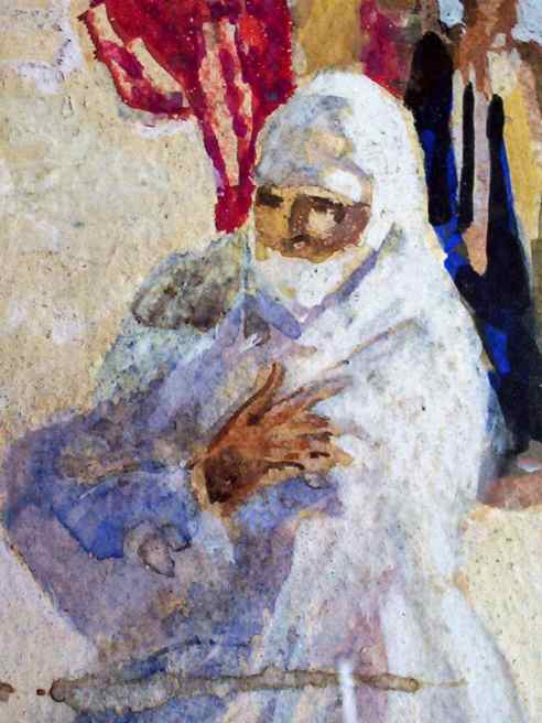 Detail of passing female figure.