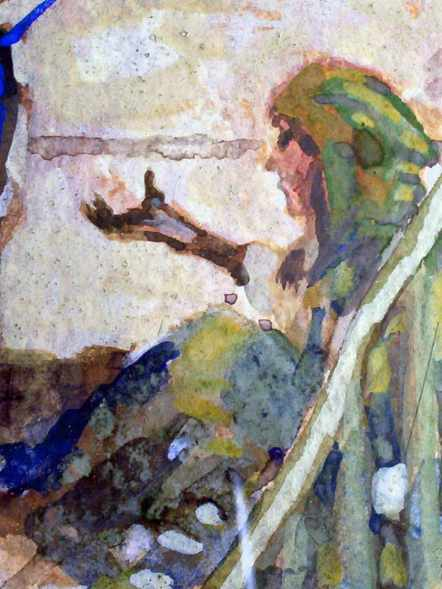 Detail of the begging woman.