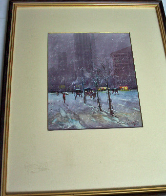 Snowy Day New York, watercolour by Michael Crawley, c1980.