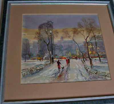 Flat Iron Building, Winter, New York signed by Michael Crawley.