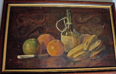 Still-life study of fruit and wine, signed monogram I.A.F. 1904.