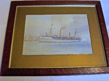 HMS Ophir off Portsmouth's Fortifications, The Royal Tour 1901, signed initials C.W.F. (Charles W. Fothergill), dated 1901.