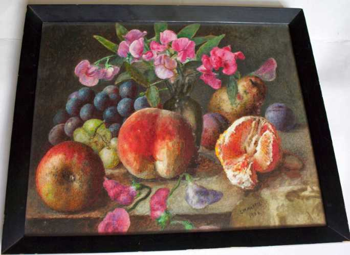 Still-life study of fruit and flowers on a table.