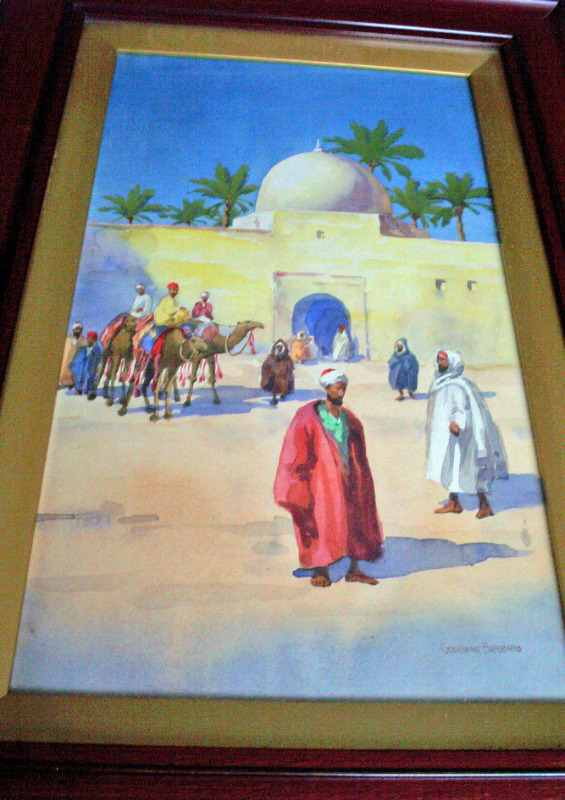 Figures and camels outside the walls, watercolour 19th Century.