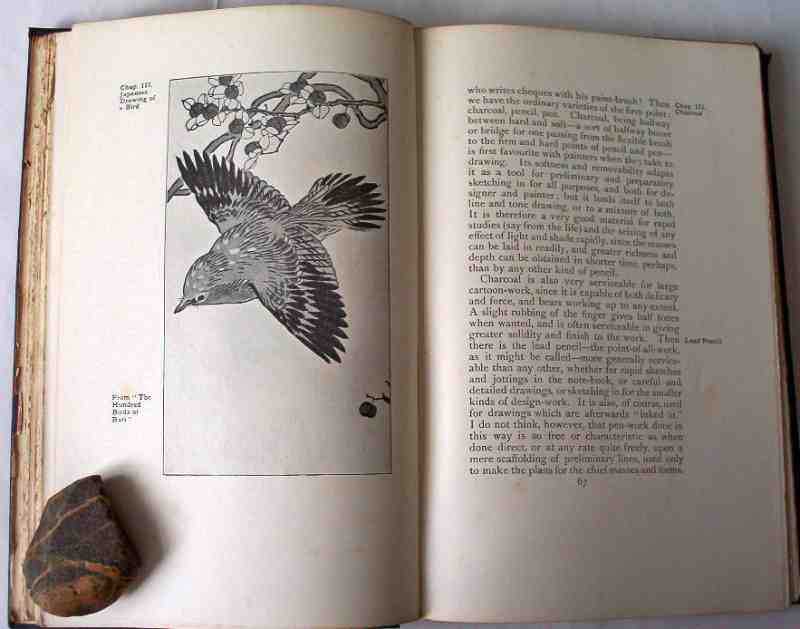 """p67 Chapter III with facing """"Japanese drawing of a bird""""."""
