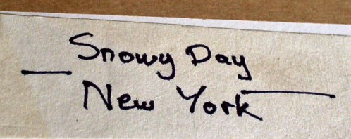 Label with title Snowy Day New York.