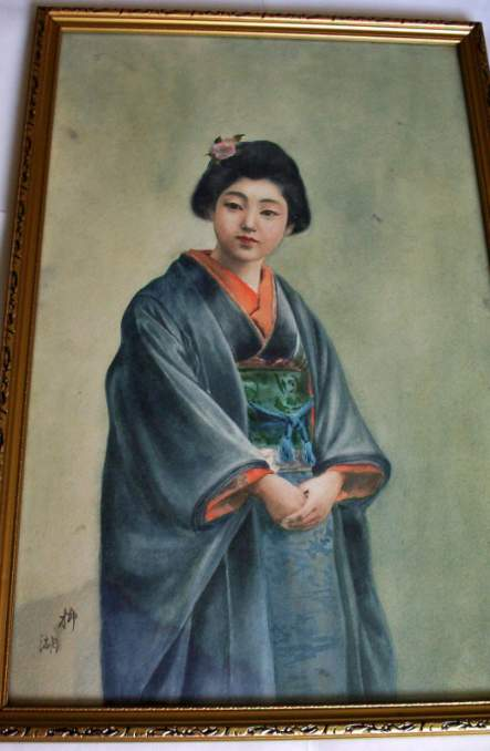 Watercolour painting of Japanese Geisha girl signed, c1930.