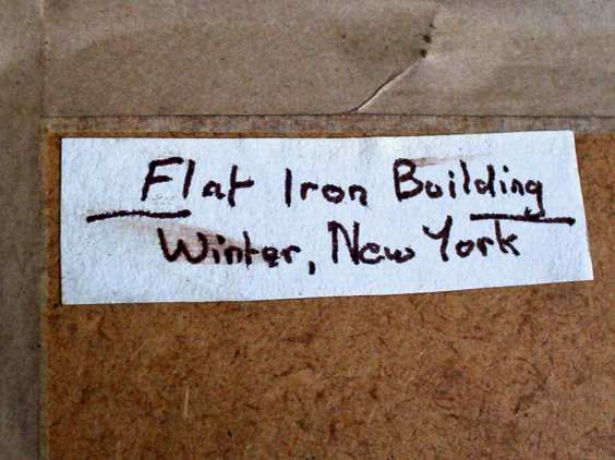 Flat iron building, winter, new york, label attached top lh corner.