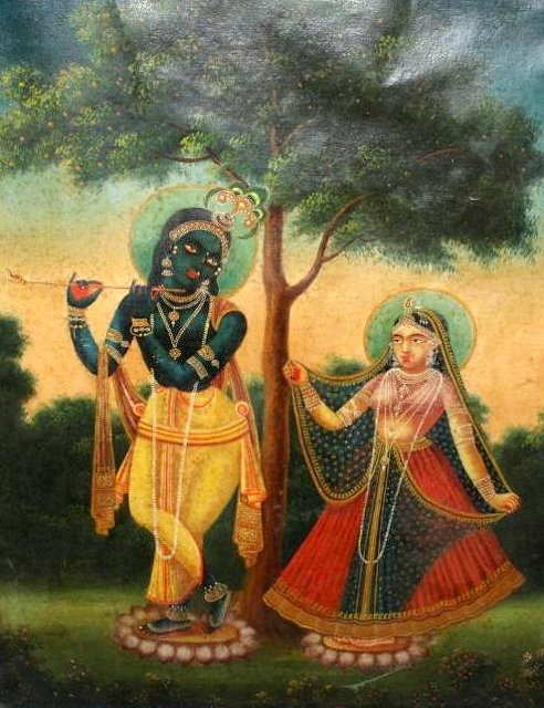 Radha Krishna in classical poise. 19th century Bengali school oil on canvas.