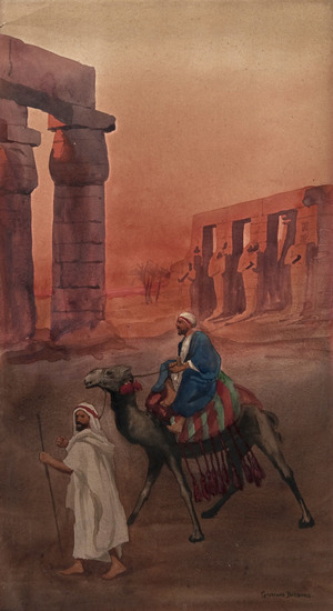 Giovanni Barbaro's Travellers and camel passing Egyptian temple near sunset.