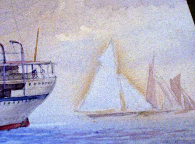 Sailing boats astern.