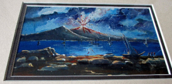 Vesuvius violently erupting at night, gouache on paper, c1900, unsigned. Framed.