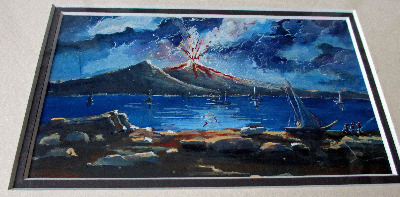 Vesuvius erupting at night, gouache on paper, c1900, unsigned.