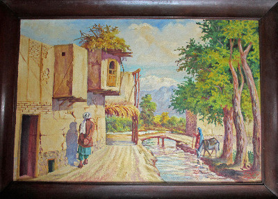 Afghan village scene with figures, oil on canvas, signed Qurban Ali, c1950.