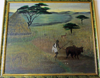 Taking bullock to the field, oil on canvas, signed A. Ortega, 1972.  SOLD.