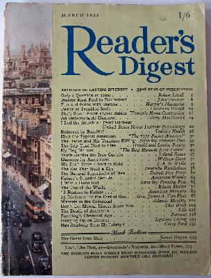 Reader's Digest, Volume 64, March 1954, price marked 1/6. British Edition.