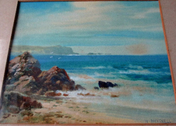 Lizard Head, Kynance, Cornwall, watercolour, signed W. Mitchell c1880.