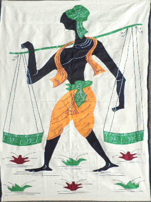 Traditional Indian Panniers, cotton handicraft on khadi work.
