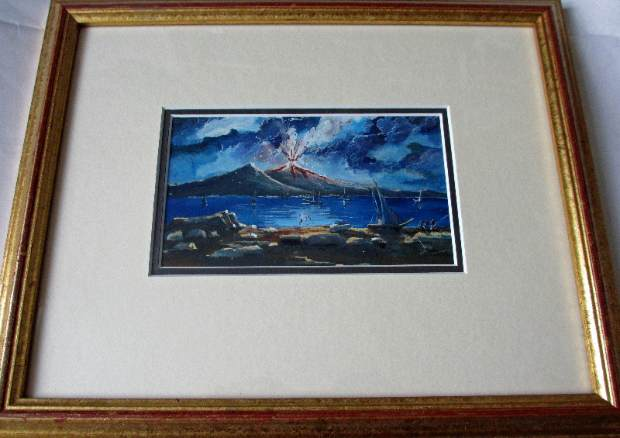 Gouache on paper, Neapolitan School, Mt Vesuvius erupting.