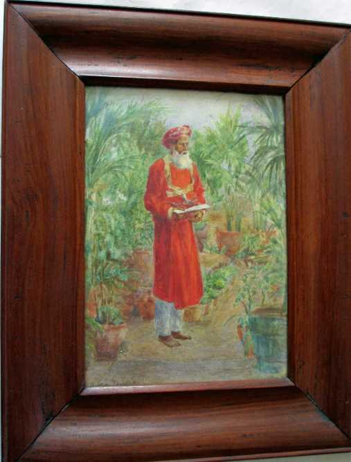 Watercolour painting of an Indian bearer in a garden.