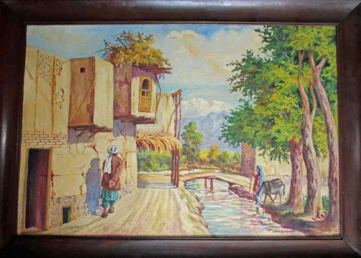 Framed oil on canvas, Afghan village signed Qurban Ali c1950.