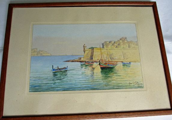 Watercolour on paper, The Grand Harbour Valletta, Malta, signed by Joseph Galea 1957.