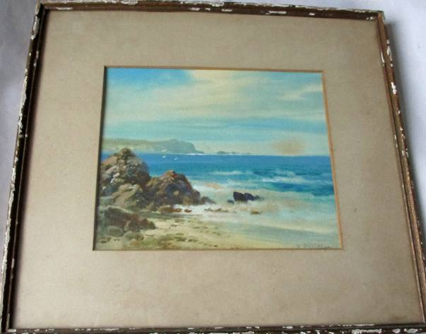 Framed and glazed watercolour painting signed W. Mitchell.