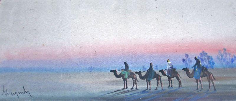 Gouache on paper, desert scene.
