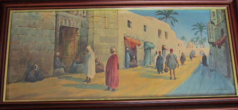 Egyptian street scene, watercolour on paper.