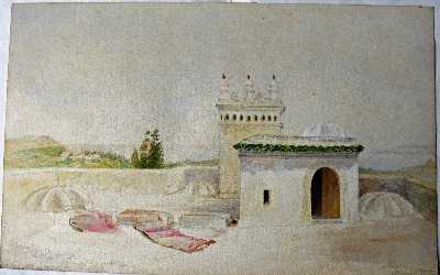 On Roof of Chateau d'Hydra, Alger, watercolour, unsigned. c1880.