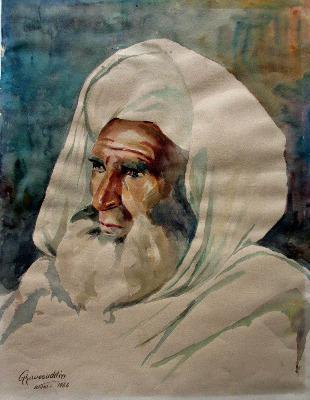 Portrait of an Afghan citizen, watercolour on paper, signed Ghaussuddin, Ka