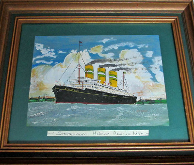 TSS Statendam, Holland America Line, signed D.T. Gray, oil on board, c1960.
