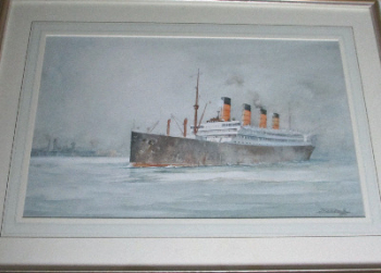 RMS Aquitania in Southampton Water, watercolour on textured paper, signed John Hardy Meadows, 1977.