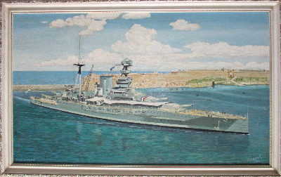 H.M.S. Barham entering Valletta Harbour 1937, signed J. Adcock 1975.    SOL