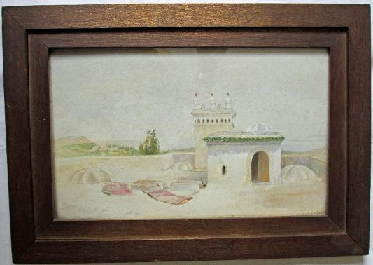 The painting displayed in the frame.