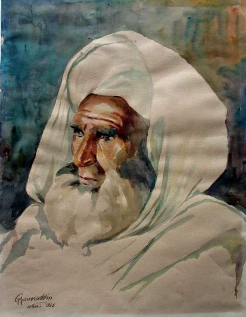 Study of an Afghan senior, watercolour on paper, 1966.