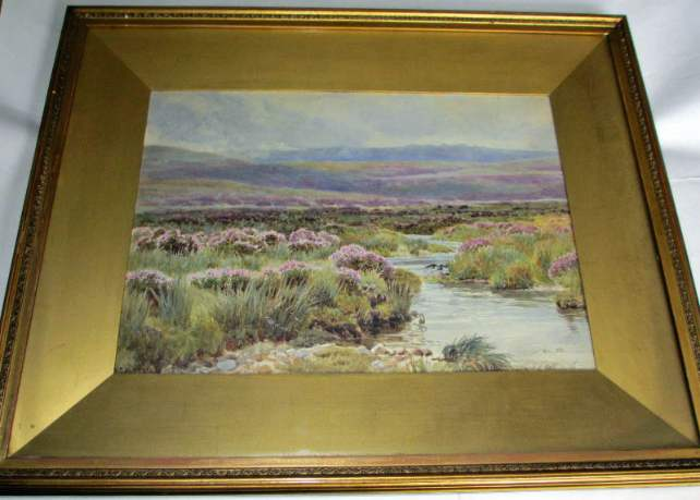 Watercolour on paper landscape signed W.S. Morrish 1891.