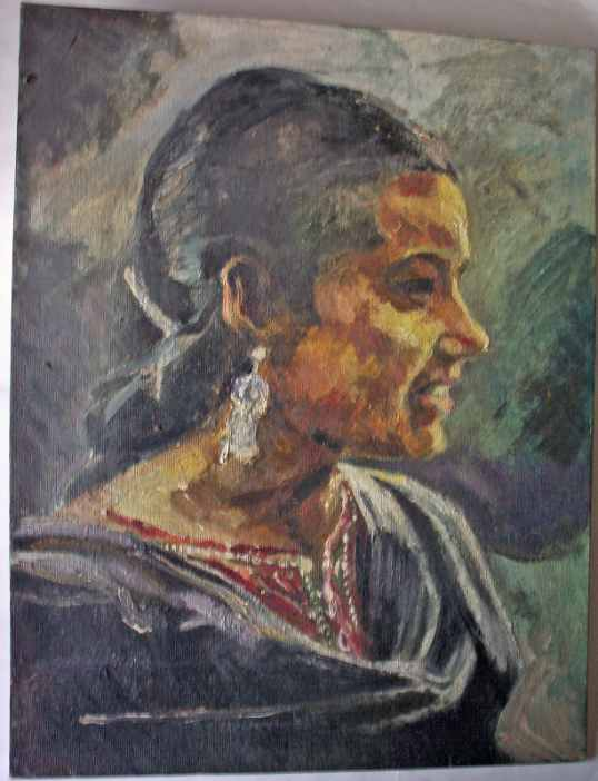 Oil on board portrait study of an Indian Lady.