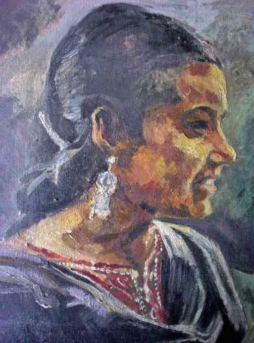 Detailed view of portrait study.