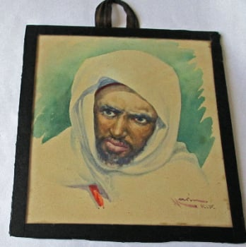 Portrait study of a Moroccan Rif Berber, signed Narin.  SOLD.